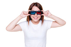 Woman looking through stereo glasses Royalty Free Stock Photos