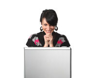 Woman looking at the suitcase getting and surprise Royalty Free Stock Image