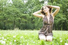 Woman Looking On The Sun Royalty Free Stock Image