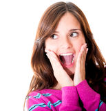 Woman looking surprised Royalty Free Stock Images