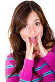 Woman looking surprised Stock Photography