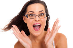 Woman looking surprised Royalty Free Stock Photography