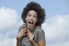 Woman looking surprised Stock Photos