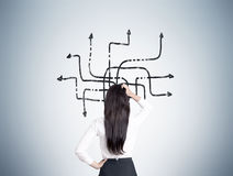 Woman looking at tangled arrows on gray wall. Rear view of a woman with long black hair looking at a tangled arrows sketch drawn on a gray wall. Concept of Stock Photo