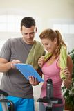 Woman looking at training plan