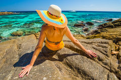 Woman looking tropical sea Royalty Free Stock Images