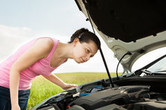 Woman Looking Under Hood Car Royalty Free Stock Photos