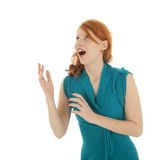 Woman looking up astonished Royalty Free Stock Photography