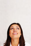 Woman looking up at copyspace Royalty Free Stock Images