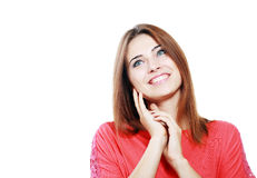 Woman  looking up smiling Stock Photography