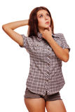 Woman looking up thinking shirt shorts isolated Stock Photos