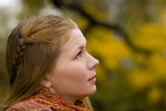 Woman looking up to the sky. Praying god for Royalty Free Stock Photo