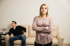 Woman looking upset with her boyfriend Stock Photography