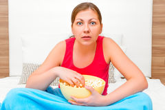 Woman looking very interesting movie Stock Image