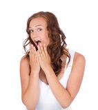 Woman looking very surprised royalty free stock photography