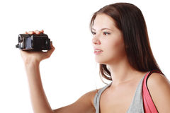 Woman looking at videocame Royalty Free Stock Image