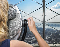 Woman Looking Through Viewer at City Stock Photos