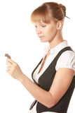 Woman looking at watch Royalty Free Stock Photo