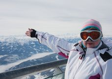 Woman on  lookout of Dachstein glacier. Austria Stock Images