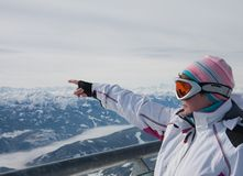Woman on  lookout of Dachstein glacier. Austria Stock Photos