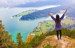 Woman at lookout point, view to lake walchensee, bavaria Royalty Free Stock Photos
