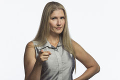 Woman looks with disapproval and scolding, horizontal Stock Image