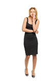Woman looks with displeasure. Beautiful young woman looks with displeasure Royalty Free Stock Photos