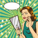 Woman looks at the mirror vector illustration in retro comic pop art style. Speech bubble Stock Photo