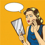 Woman looks at the mirror vector illustration in retro comic pop art style. Speech bubble Royalty Free Stock Images
