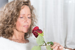 Woman looks at rose Stock Image