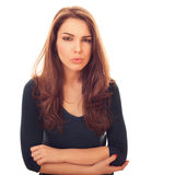 Woman looks with suspicious Stock Photos