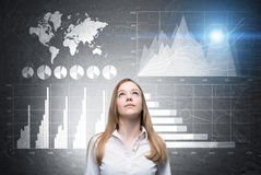 Woman looks up, four graphs, world map Royalty Free Stock Photography