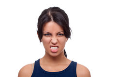 Woman looks very angry Royalty Free Stock Images