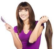 Woman loosing hair Stock Photography