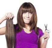 Woman loosing hair Royalty Free Stock Image