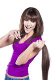 Woman loosing hair Royalty Free Stock Images