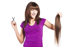Woman loosing hair Royalty Free Stock Image