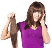 Woman loosing hair Stock Photography