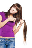 Woman loosing hair Stock Images