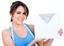 Woman loosing weight Stock Photos