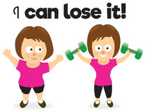 Woman losing weight vector illustration
