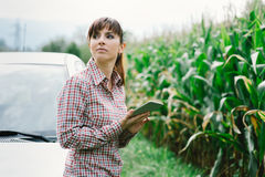 Woman lost in the countryside Stock Photo