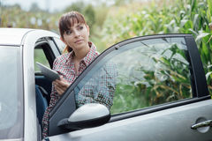 Woman lost in the countryside Stock Images
