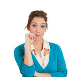 Woman lost in deep thoughts Stock Images