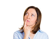 Woman lost in thoughts Royalty Free Stock Photos