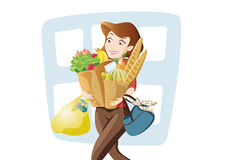 Woman with a lot of bags. Carrying  after shopping Stock Photography