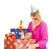 Woman with a lot of gifts Stock Photo