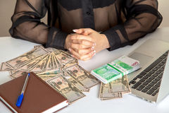 Woman with a lot of money Stock Image