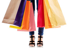 Woman with a lot of shopping bags Stock Photography