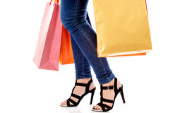 Woman with a lot of shopping bags Royalty Free Stock Photos